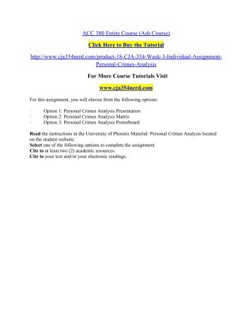CJA 354 Week 3 Individual Assignment Personal / cja354nerddotcom