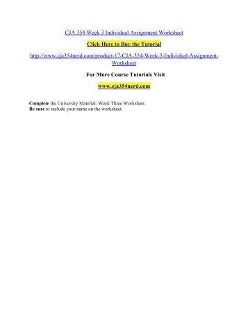 CJA 354 Week 3 Individual Assignment Weekly Worksheet