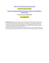 BUS 311 Week 4 DQ 2 Business Ethics (New) /uophelp
