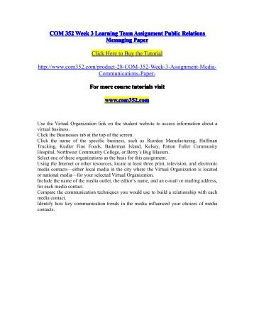 COM 352 Week 3 Learning Team Assignment Public Relations Messaging Paper / com352dotcom