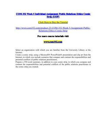 COM 352 Week 5 Individual Assignment Public Relations Ethics Comic Strip (UOP) / com352dotcom