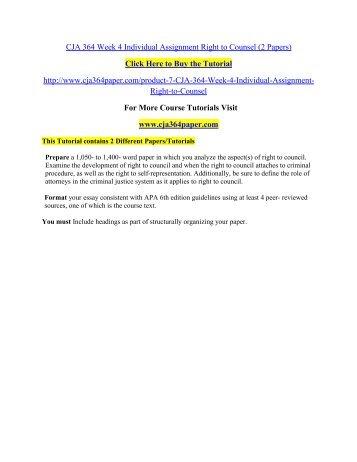 CJA 364 Week 4 Individual Assignment Right / cja364paperdotcom