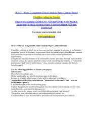 BUS 311 Week 2 Assignment Critical Analysis Paper  Contract Breach /uophelp