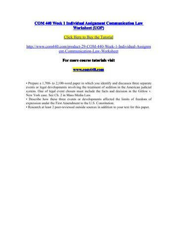 COM 440 Week 1 Individual Assignment Communication Law Worksheet (UOP) / com440dotcom