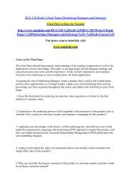 BUS 330 Week 5 Final Paper (Marketing Managers and Strategy)/uophelp