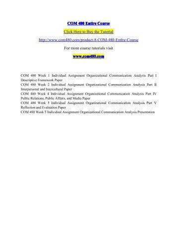 COM 480 Entire Course / com480dotcom