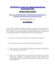 COM 530 Week 5 Learning Team Assignment Enhanced Formal Communications Project / com530dotcom