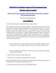COM 530 Week 6 Individual Assignment PR Communication Memo / com530dotcom