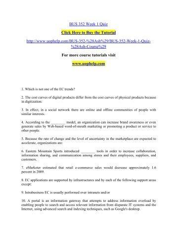 BUS 352 Week 1 Quiz/uophelp