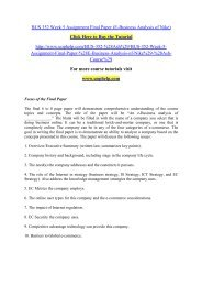 BUS 352 Week 5 Assignment Final Paper (E-Business Analysis of Nike)/uophelp