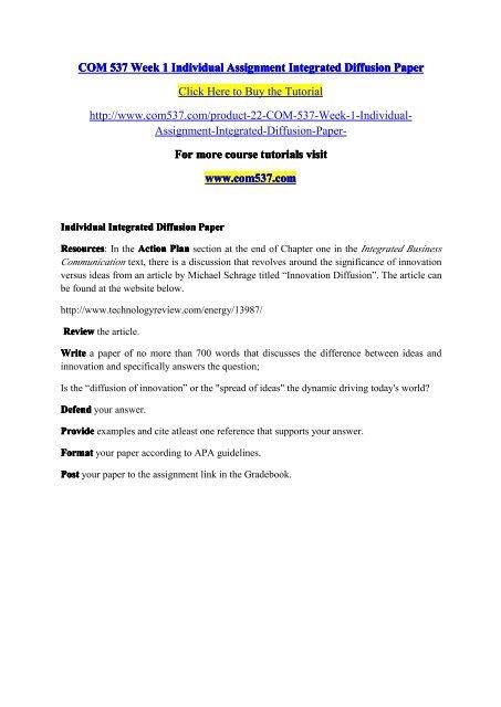 COM 537 Week 1 Individual Assignment Integrated Diffusion Paper/ com537dotcom