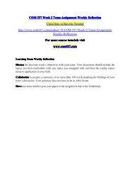 COM 537 Week 2 Team Assignment Weekly Reflection / com537dotcom