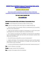 COM 537 Week 2 Individual Assignment Communication Styles and the Business Communication Process / com537dotcom