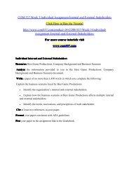 COM 537 Week 3 Individual Assignment Internal and External Stakeholders / com537dotcom