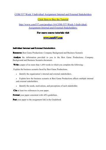 COM 537 Week 3 Individual Assignment Internal and External Stakeholders / com537dotcom