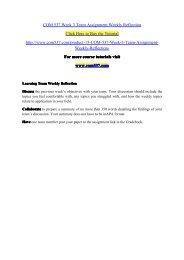 COM 537 Week 3 Team Assignment Weekly Reflection / com537dotcom