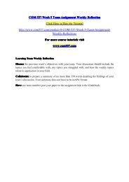 COM 537 Week 5 Team Assignment Weekly Reflection / com537dotcom