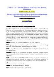 COM 537 Week 5 Individual Assignment Internal and External Persuasive Communication / com537dotcom