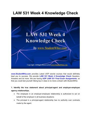 law 531 week 1 knowledge check For more classes visit wwwlaw531martcom 1identify an accurate statement about a sole proprietorship 2sara and cilia run a café together they share ownership of.