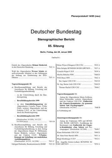 Stenographischer Bericht 85. Sitzung - Deutscher Bundestag