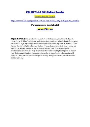 CRJ 301 Week 2 DQ 2 Rights of Juveniles / crj301dotcom