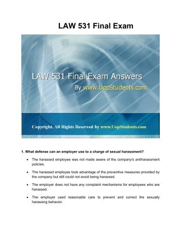 LAW 531 Final Exam Question Answers UOP Students