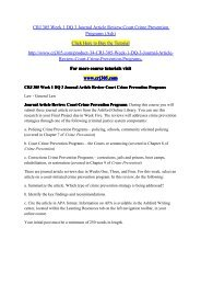 CRJ 305 Week 1 DQ 3 Journal Article Review Court Crime Prevention Programs (Ash) / crj305dotcom