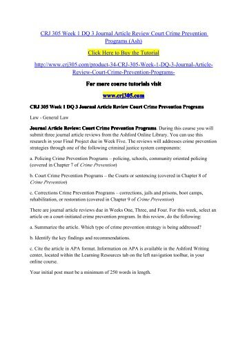 CRJ 305 Week 1 DQ 3 Journal Article Review Court Crime Prevention Programs (Ash) / crj305dotcom