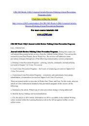 CRJ 305 Week 3 DQ 3 Journal Article Review Policing Crime Prevention Programs (Ash) / crj305dotcom