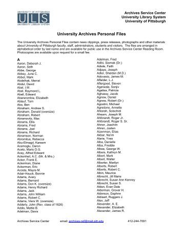 University Archives Personal Files - University of Pittsburgh