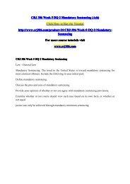 CRJ 306 Week 5 DQ 2 Mandatory Sentencing (Ash) / crj306dotcom