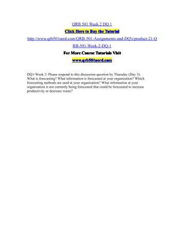 QRB 501 Week 2 DQ 1/QRB501nerddotcom