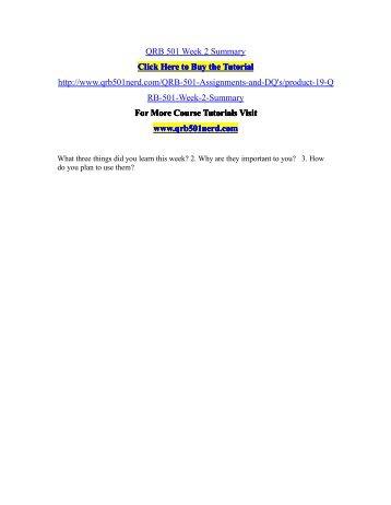 QRB 501 Week 2 Summary/QRB501nerddotcom