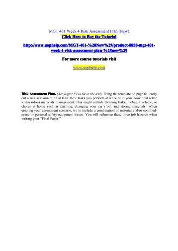 MGT 401 Week 4 Risk Assessment Plan (New)