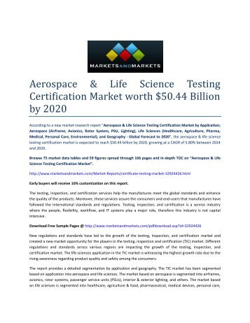 Aerospace & Life Science Testing Certification Market by Application; Aerospace - 2020 | MarketsandMarkets