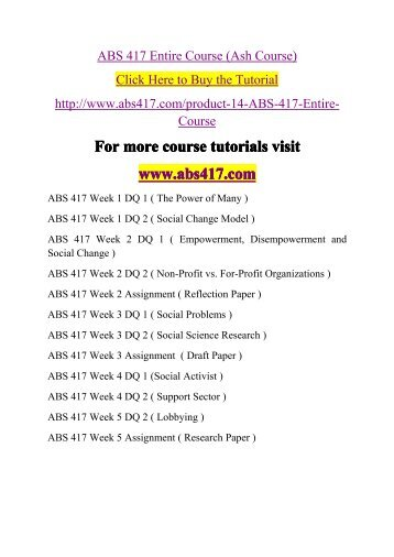 ABS 417 Entire Course -abs417dotcom