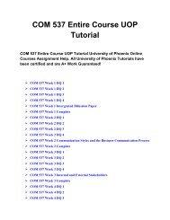 COM 537 Entire Course UOP Tutorial