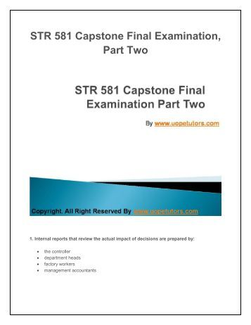 university of phoenix capstone final exams part 2 Discover the best homework help resource for str 581 capstone final exam part 2  at university of phoenix find solved str 581 capstone final.