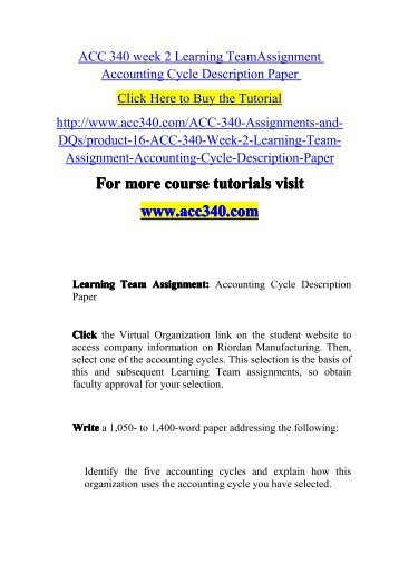 ACC 340 week 2 Learning TeamAssignment-acc340dotcom