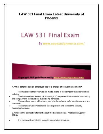 universtiy of phoenix business law 531 final exam Examinations are easy to pass with flying colors with instant help available for uop business law 531 final exam question answers in just a click issuu company logo issuu.