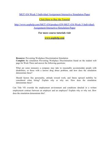 MGT 434 Week 3 Individual Assignment Interactive Simulation Paper