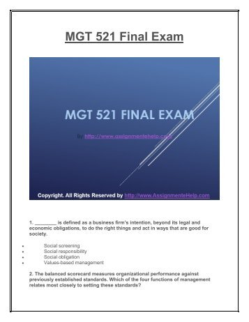 mgt 521 complete course Read this essay on mgt 521 entire course ( week 1-6 ) complete course come browse our large digital warehouse of free sample essays get the knowledge you need in order to pass your classes and more only at termpaperwarehousecom.