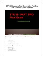 STR 581 Capstone Final Examination Part Two UOP Complete Course Tutorials
