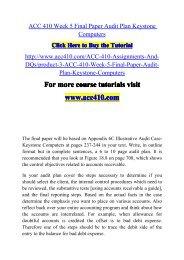 ACC 410 Week 5 Final Paper Audit Plan Keystone-acc410dotcom