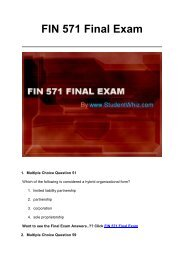 FIN 571 Final Exam UOP Complete Course Assignment