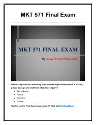MKT 571 Final Exam UOP Complete Course Assignment