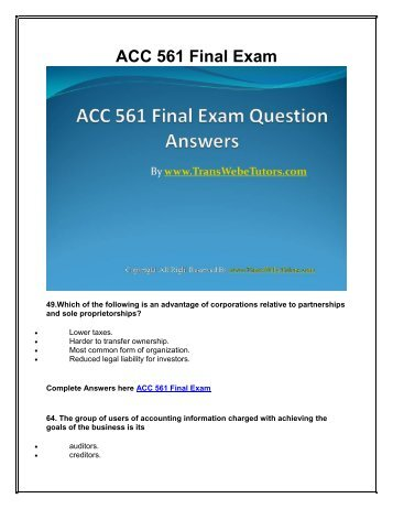 ans and question for acc 537 final exam University of phoenix (uop e help) provides information about com 537 final  exam, com 537 final exam answer, uop com 537 final.