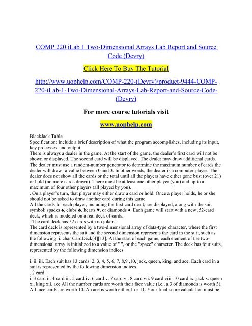 COMP 220 iLab 1 Two-Dimensional Arrays Lab Report and Source
