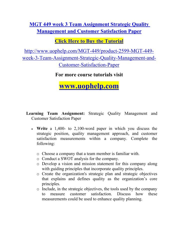 mgt 449 business management quality pioneers essay