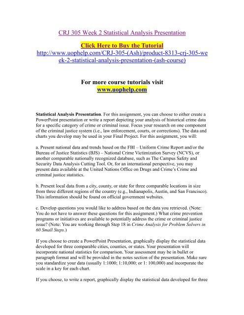 CRJ 305 Week 2 Statistical Analysis Presentation